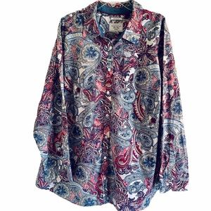 Relaxed Fit Blue Pink Paisley Button Front Shirt